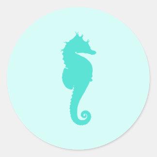Seahorse de la turquesa pegatina redonda