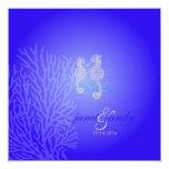 Seahorse de PixDezines+azul de cobalto coralino Invitación 13,3 Cm X 13,3cm