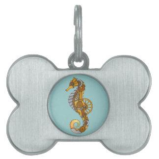 Seahorse de Steampunk Placas De Nombre De Mascota
