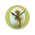 Seahorse de Steampunk Reloj De Pared