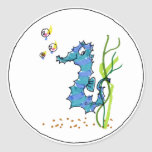 Seahorse del dibujo animado lindo etiquetas redondas