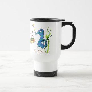 Seahorse del dibujo animado lindo taza de viaje