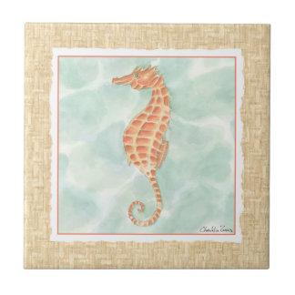 Seahorse del naranja del océano azulejo cuadrado pequeño