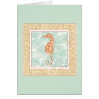 Seahorse del naranja del océano tarjeta de felicitación