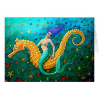 Seahorse del paseo de la sirena tarjeta de felicitación