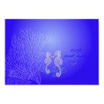 Seahorse del rsvp de PixDezines, azul de cobalto, Invitación 8,9 X 12,7 Cm