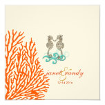 Seahorse del vintage de PixDezines+coral Invitación 13,3 Cm X 13,3cm