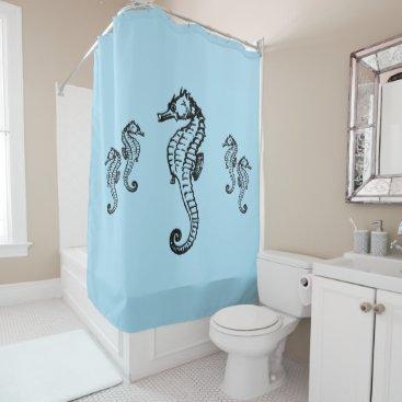 Beach Themed Seahorse Design on Blue Shower Curtain