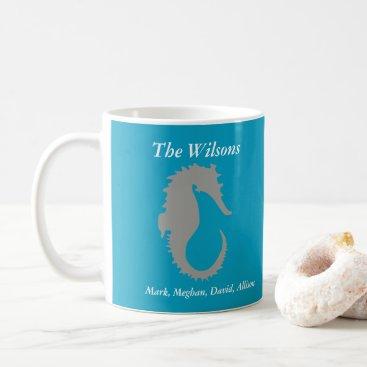 Coffee Themed Seahorse Design Personalized Coffee Mug