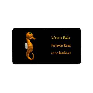 Seahorse divertido de Halloween Etiqueta De Dirección