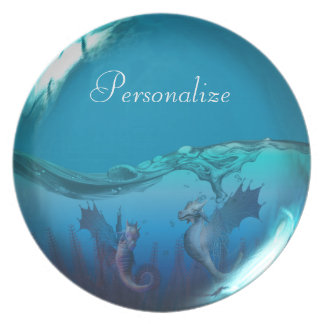 Seahorse Dragons Fantasy Art Personalized Plate