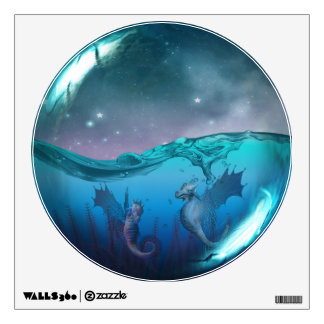 Seahorse Dragons Fantasy Glass Sphere Wall Decal