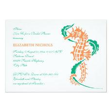Seahorse emerald, coral wedding bridal shower 5