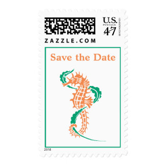 Seahorse emerald, coral wedding Save the Date Postage