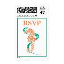 Seahorse emerald green, coral wedding RSVP Postage