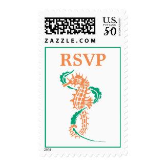Seahorse emerald green, coral wedding RSVP Postage