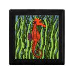 Seahorse en caja de la baratija del Seagrass Caja De Joyas