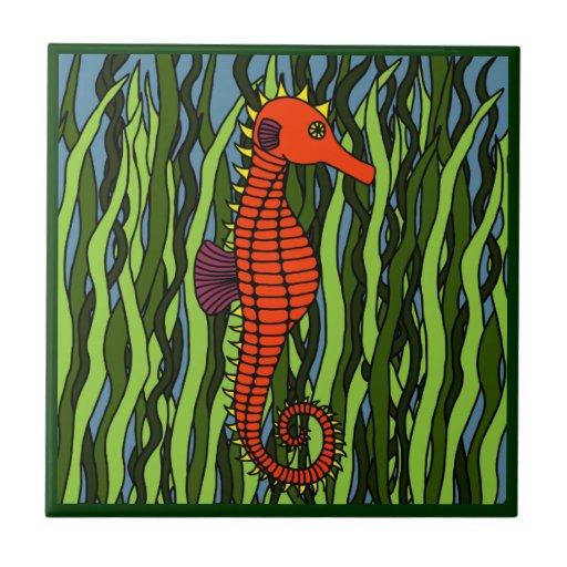 Seahorse en teja decorativa del Seagrass