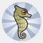 Seahorse enano lindo etiquetas redondas