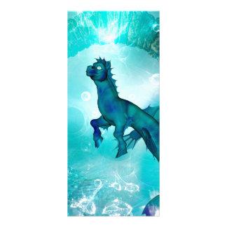Seahorse encantador en un mundo subacuático de la diseño de tarjeta publicitaria