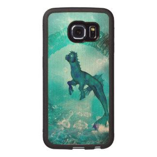Seahorse encantador en un mundo subacuático de la funda de madera para samsung galaxy s6 edge