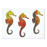 Seahorse esmaltado de oro invitación 12,7 x 17,8 cm