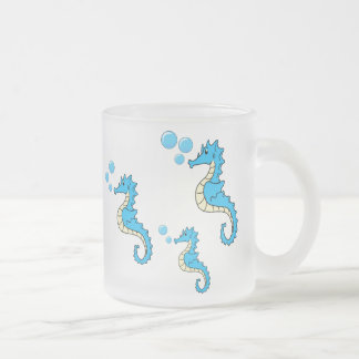 Seahorse Family 10 Oz Frosted Glass Coffee Mug