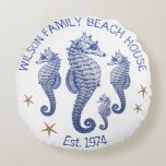 "Seahorse Family Name Beach House Pillow<br><div class=""desc"">Seahorse family name round throw pillow. Decorate a beach house or coastal themed room with sea life. Custom, curved text at the top and bottom. Include the family name and date established. Little brown starfish / sea stars and four navy blue and gray sea horses in the center. White background...</div>"