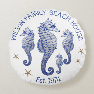 Seahorse Family Name Beach House Pillow