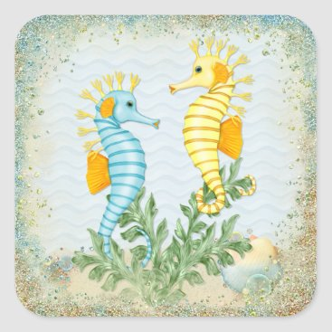 Beach Themed Seahorse Fantasy Square Sticker