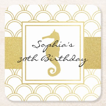Beach Themed Seahorse Faux Gold Nautical Modern Birthday Party Square Paper Coaster