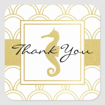Beach Themed Seahorse Faux Gold Nautical Modern Thank You Square Sticker