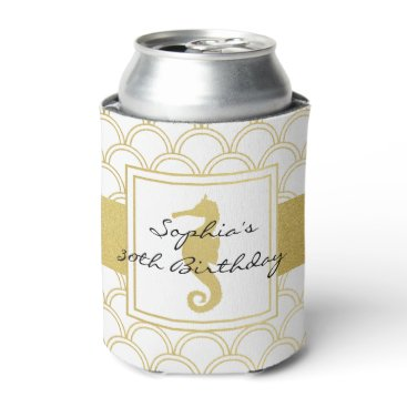 Beach Themed Seahorse Faux Gold Nautical Pattern Modern Party Can Cooler