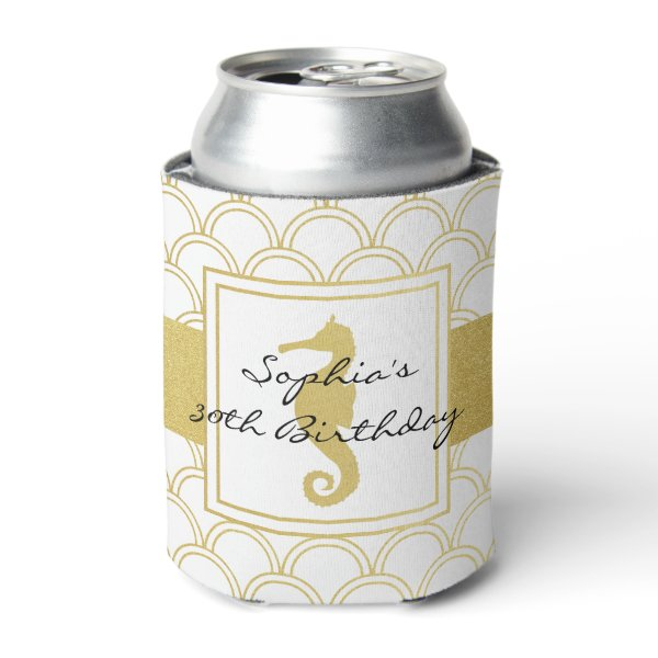 Seahorse Faux Gold Nautical Pattern Modern Party Can Cooler