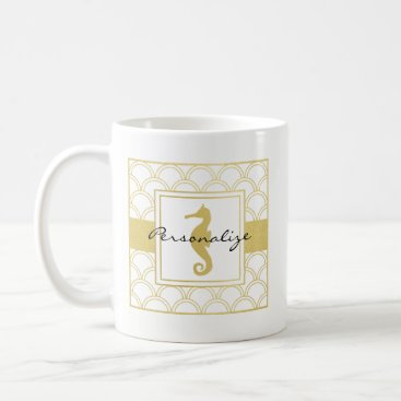 Beach Themed Seahorse Faux Gold Retro Nautical Pattern Modern Coffee Mug