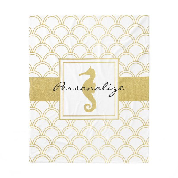 Seahorse Faux Gold Retro Nautical Pattern Modern Fleece Blanket