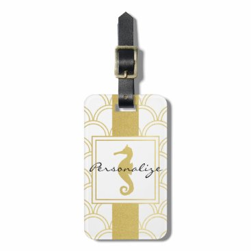 Beach Themed Seahorse Faux Gold Retro Nautical Pattern Modern Luggage Tag