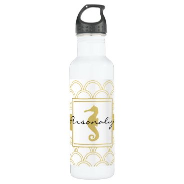 Beach Themed Seahorse Faux Gold Retro Nautical Pattern Modern Stainless Steel Water Bottle
