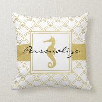 Seahorse Faux Gold Retro Nautical Pattern Modern Throw Pillow