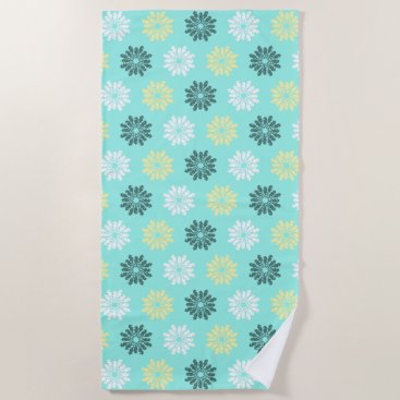 Beach Themed Seahorse Flowers Aqua Beach Towel
