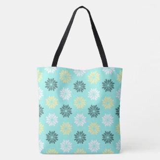 Seahorse Flowers Aqua Tote Bag