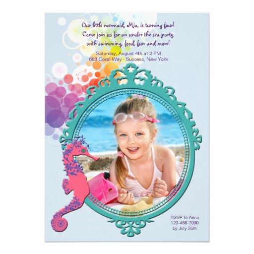 Seahorse Frame Photo Birthday Party Invitation