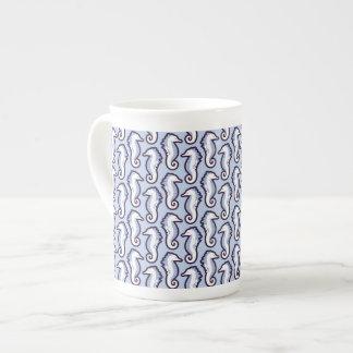 Seahorse Frolic Bone China Mug - Blue