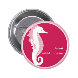 Seahorse Frolic Button - Pink