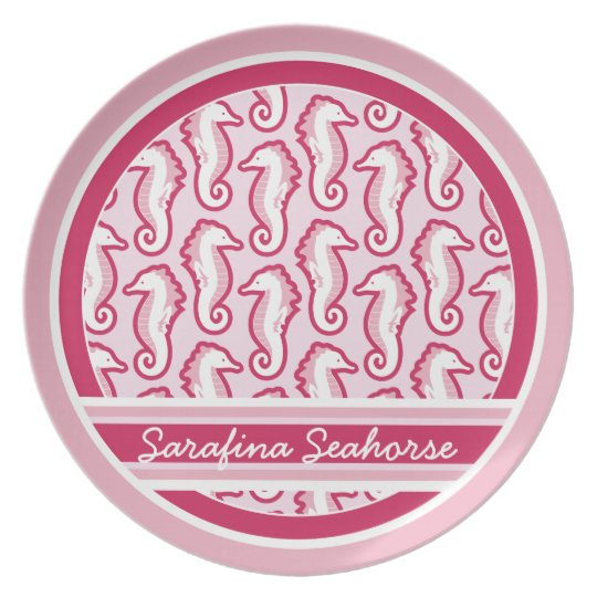 Seahorse Frolic Personalized Plate - Pink