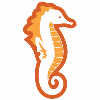 Seahorse Frolic Sculpture - Orange