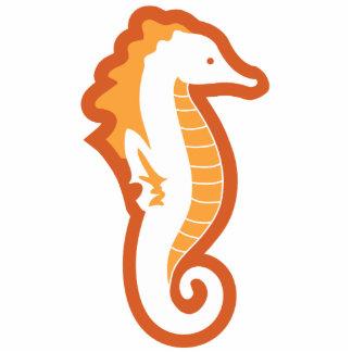 Seahorse Frolic Sculpture - Orange Standing Photo Sculpture