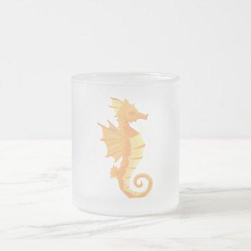 Coffee Themed Seahorse Frosted Coffee Tea Mug 10 oz