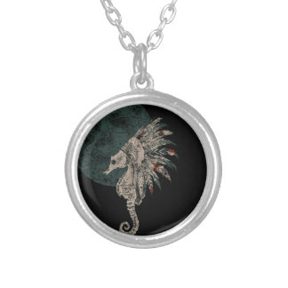 seahorse headdress silver plated necklace