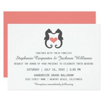 Beach Themed Seahorse Heart Card